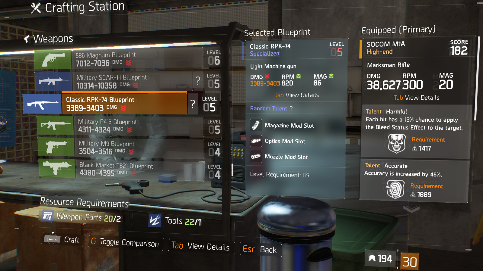Division Specialized Item Crafted