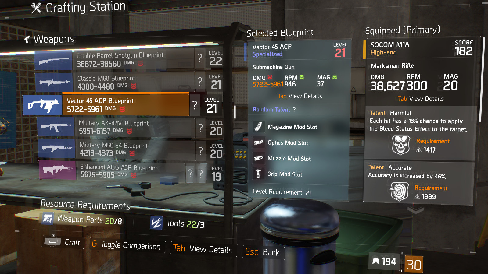 Performance gear mod blueprint crafting blueprint item the vector 45 acp blueprint malvernweather Image collections