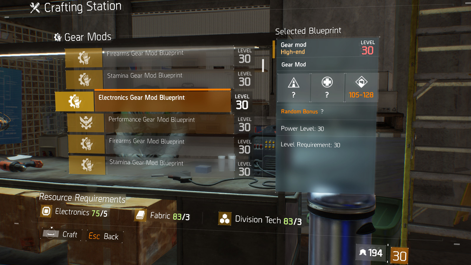 Tactical acr blueprint crafting blueprint item the division field electronics gear mod blueprint malvernweather Gallery